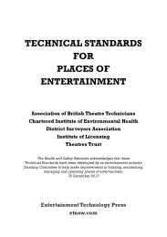 Technical standards for places of entertainment (Reprinted with revisions 1 September 2018)