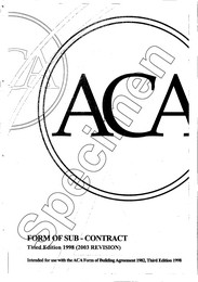 Form of sub-contract. 3rd edition 1998. (2003 revision)