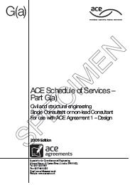Schedule of services to be undertaken by a single consultant or non-lead consultant. Civil and structural engineering (includes amendment sheet dated June 2009)