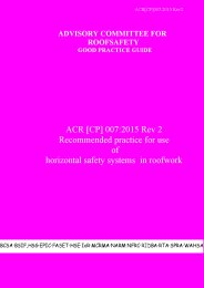 ACR [CP] 007:2015 Rev 2: Recommended practice for use of horizontal safety systems in roofwork (magenta book) (Part 1)