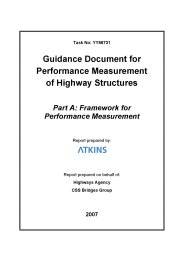 Guidance document for performance measurement of highway structures. Part A: Framework for performance measurement
