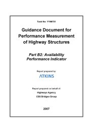 Guidance document for performance measurement of highway structures. Part B2: Availability performance indicator