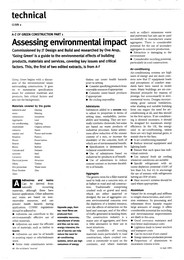 A-Z of green construction part 1. Assessing environmental impact. AJ 14.07.93