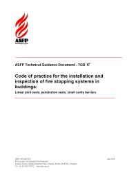 Code of practice for the installation and inspection of fire stopping systems in buildings: linear joint seals, penetration seals, small cavity barriers