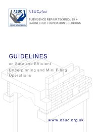 Guidelines on safe and efficient underpinning and mini piling operations