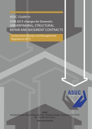 Guide to CDM 2015 changes for domestic: underpinning, structural repair and basement contracts. Construction (design and management) regulations 2015