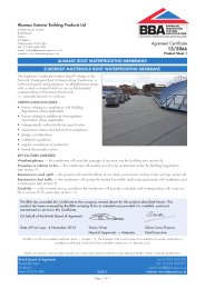 Alumasc Exterior Building Products Ltd. Alumasc roof waterproofing membranes. Euroroof Mastergold roof waterproofing membrane. Product sheet 1