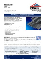 Ariel Plastics Ltd. Harcon GRP valley trough and flashing range. Harcon GRP dry valley troughs. Product sheet 4