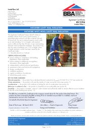 Instafibre Ltd. Instafibre cavity wall insulation. Instafibre white wool cavity wall insulation. Product sheet 1