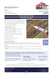 Alliance Remedial Supplies Ltd. Dryfix damp-proof systems. Dryfix injection cream. Product sheet 1