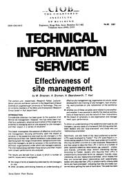 Effectiveness of site management