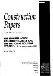 English house condition survey and national housing stock. Part 2: the housing stock in 1991