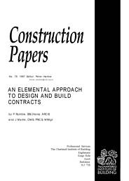 Elemental approach to design and build contracts