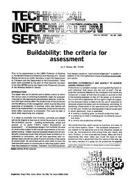 Buildability: the criteria for assessment