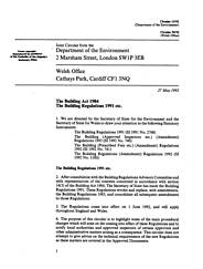Building Act 1984: Building regulations 1991 etc