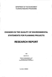 Changes in the quality of environmental statements for planning projects