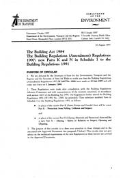 Building Act 1984. Building regulations (amendment) regulations 1997: new parts K and N in schedule 1 to the Building Regulations 1991