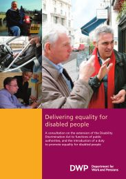 Delivering equality for disabled people. Cm 6255