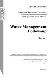 Water management follow-up report (HL Paper 21 of session 2006-07)